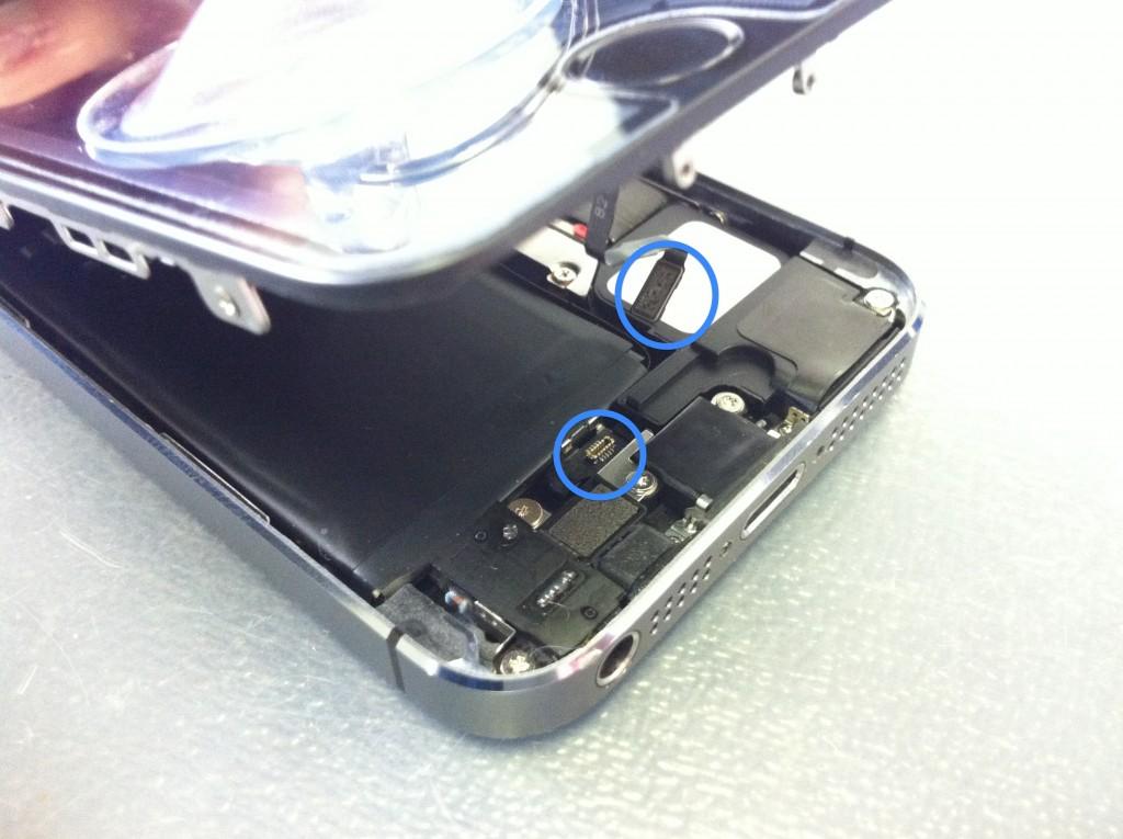 iPhone5Sボタンケーブル外す